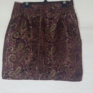 XXI Mini Satin Embroidery Skirt XS Black Purple